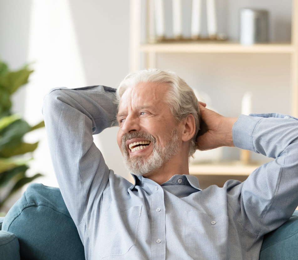 older man relaxed and smiling
