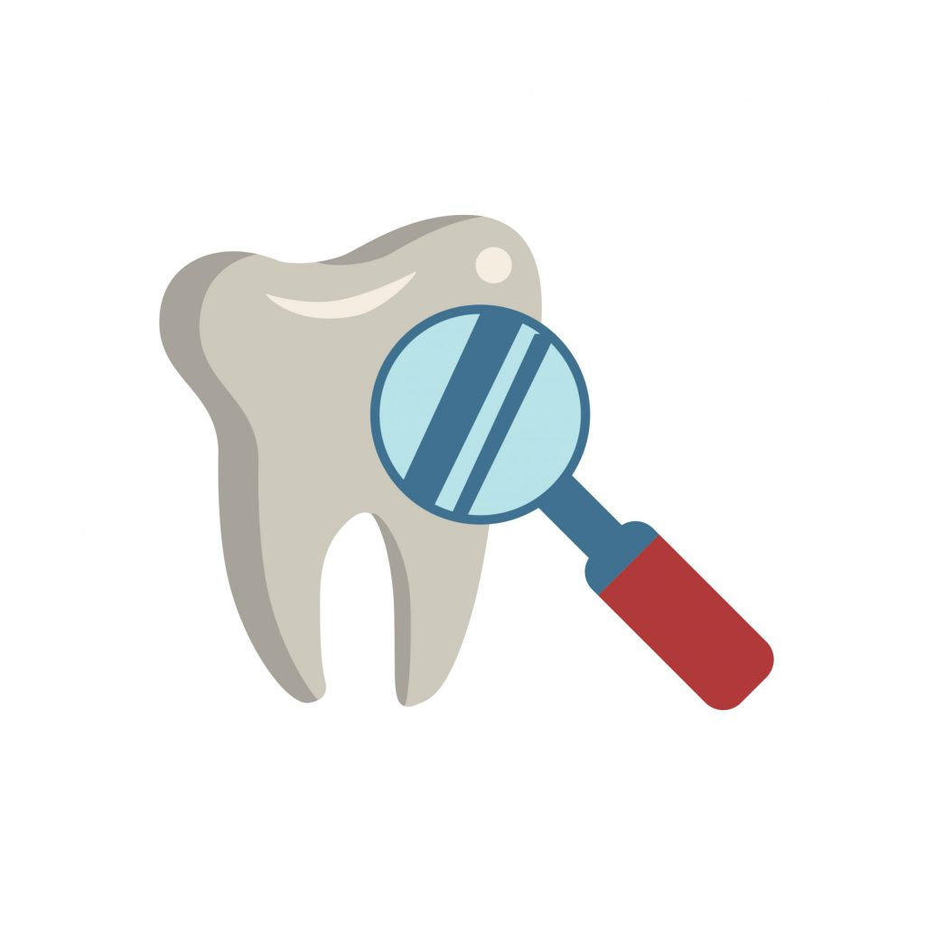 a graphic of a tooth and magnifying glass